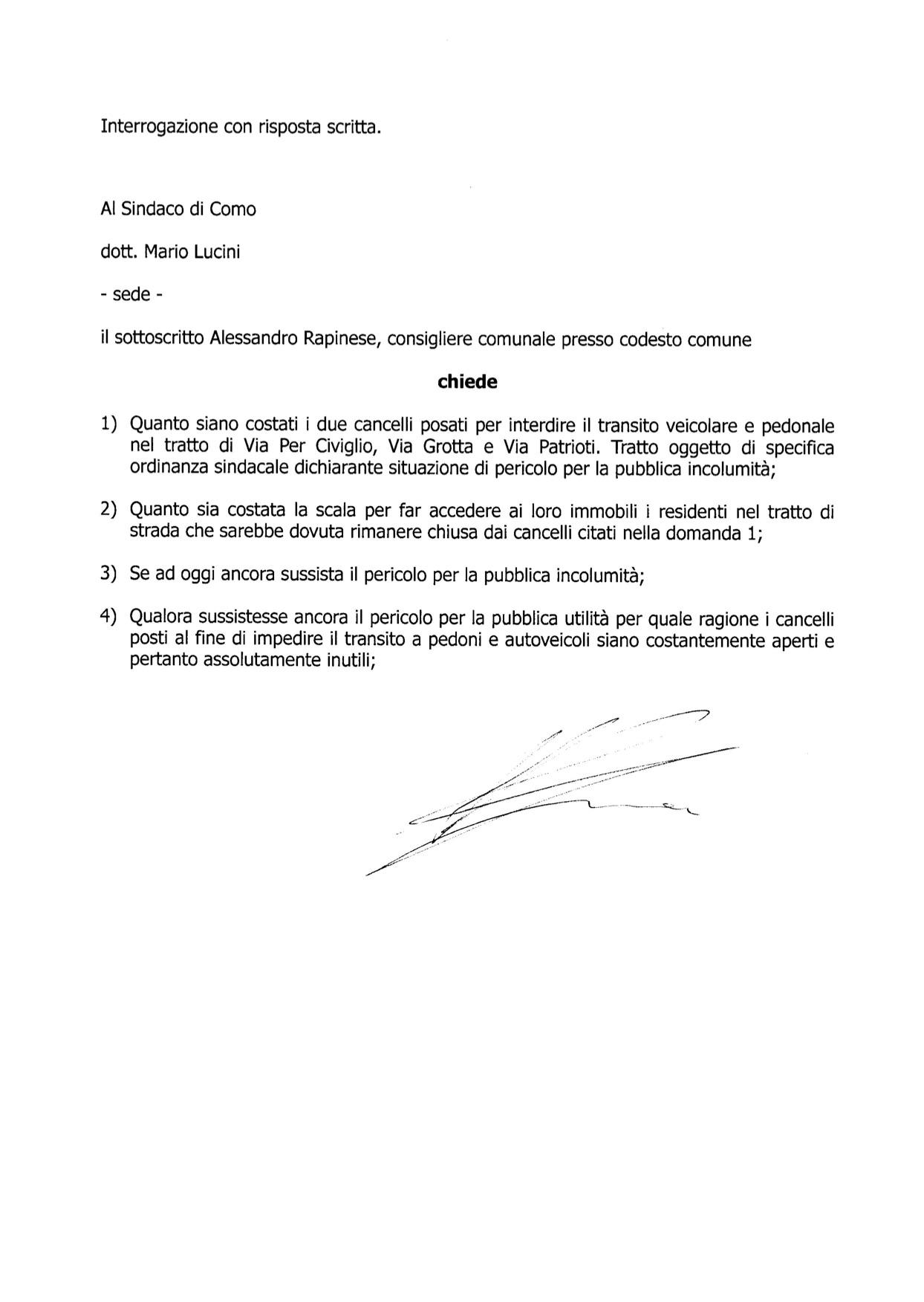 20 marzo 2015 - Interrogazione cancelli civiglio
