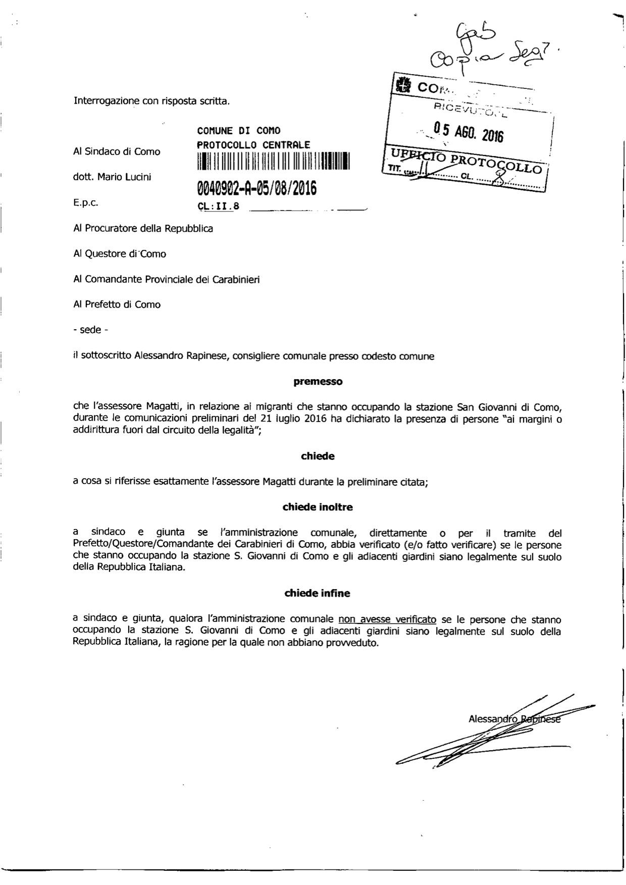 5 agosto 2016 - Interrogazione legalità dimoranti stazione